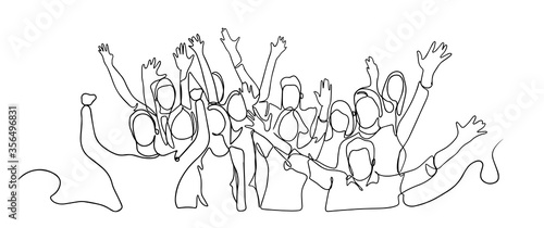 Fototapeta Continuous line drawing of happy cheerful crowd of people. Cheerful crowd cheering illustration. Hands up. Group of applause people continuous one line vector drawing. Audience silhouette hand drawn.  obraz