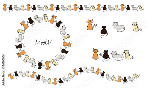 Set of funny kittens. Red, gray, brown cats on a white background. Wreath. Brush. Textile. Hand drawing style. Children's style. Stock vector illustration.