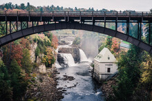Rainbow Falls & Ausable Chasm Bridge In Adirondack, New York