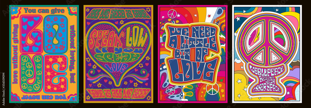 Fototapeta Love Lettering Romantic Quotes, 1960s Hippie Style Psychedelic Art Posters, Hearts, Peace Symbols, Flowers, Rainbows
