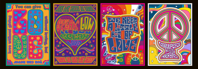 Love Lettering Romantic Quotes, 1960s Hippie Style Psychedelic Art Posters, Hearts, Peace Symbols, Flowers, Rainbows