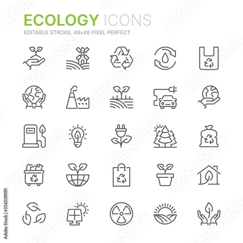 Canvas Print Collection of ecology related line icons