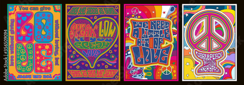 Love Lettering Romantic Quotes, 1960s Hippie Style Psychedelic Art Posters, Hear фототапет
