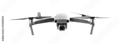 Obraz Modern drone with camera isolated on white - fototapety do salonu