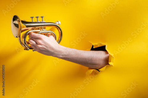 Fényképezés Hand playing horn through a torn hole in yellow paper background