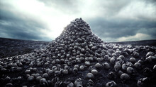 Heap Of Skulls. Apocalypse And Hell Concept. 3d Rendering.