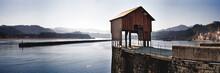 Gazebo On Pier Near Calm Water