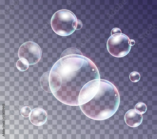 Cuadros en Lienzo Iridescent water or soap bubbles of assorted sizes for design elements, colored