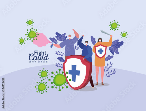 Obraz People with masks shield sword and spray design of Fight covid 19 virus and stop spread theme Vector illustration - fototapety do salonu