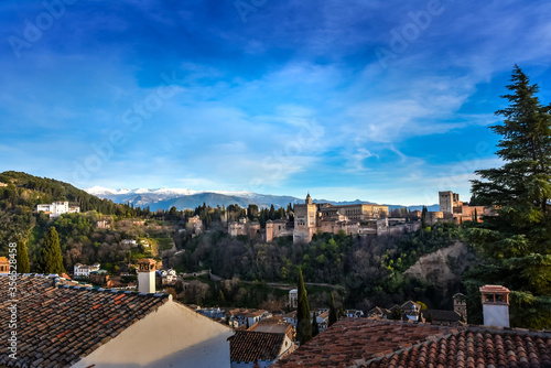 Fototapeta View of the Alhambra from the viewpoint of Albaicin, Granada, Andalusia