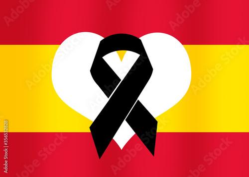 Photo Bandera de España con lazo negro por el Coronavirus