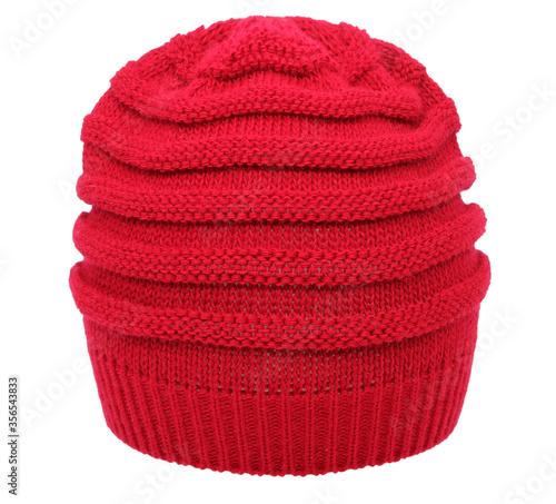 Touca em trico, confeccionada em lã vermelha e trabalhada em pontos duplos, foto Canvas Print