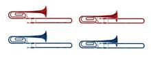 Trombone Instrument Cartoon Music Graphic Vector