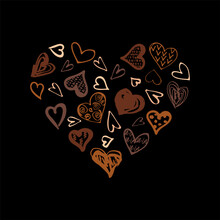 All Lives Matter Concept. Hand Drawn Style Hearts On Black Background. Equality Concept. Vector Illustration.