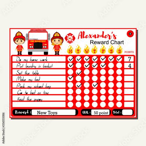 Fotografia Fire fighter chore chart for kids