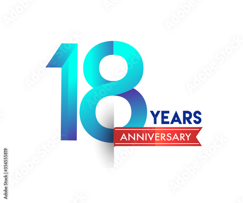18th Anniversary celebration logotype blue colored with red ribbon, isolated on white background. Wall mural