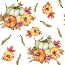 Hand Painted Watercolor Autumn Pattern Of Pumpkins,  Leaves, Red Flowers, Berries, Branches. Pattern Perfect For Fabric Textile, Vintage Paper,  Scrapbooking