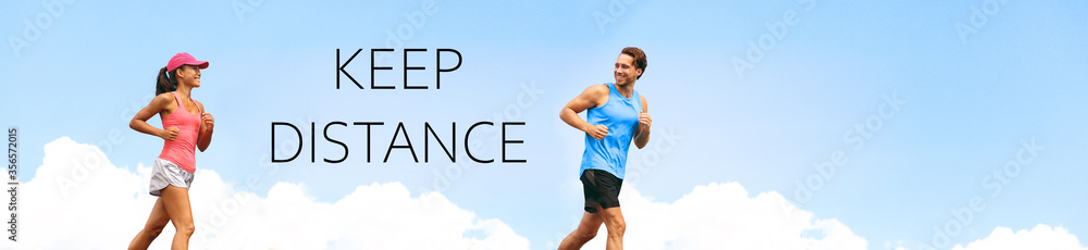 Fototapeta KEEP DISTANCE social distancing COVID-19 people walking running exercising outdoor in city. Healthy active runners man woman jogging header summer lifestyle banner.