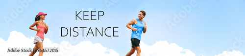 KEEP DISTANCE social distancing COVID-19 people walking running exercising outdoor in city. Healthy active runners man woman jogging header summer lifestyle banner. - 356572015