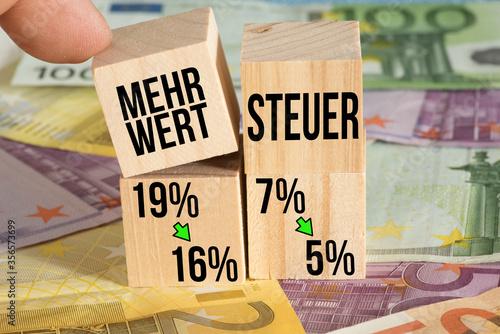 Fotomural Euro Geldscheine und Senkung der Mehrwertsteuer