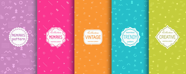 Vector geometric seamless patterns collection. Set of  bright colorful background swatches with elegant minimal labels. Cute trendy textures on vibrant background. Modern design