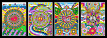 1960s Hippie Style Background Set, Psychedelic Art, Abstract Patterns, Love And Peace Symbols, Hearts, Flowers, Rainbows