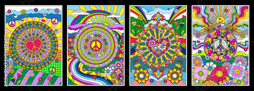 фотография 1960s Hippie Style Background Set, Psychedelic Art, Abstract Patterns, Love and