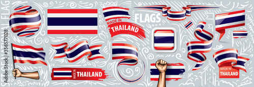 Vector set of the national flag of Thailand in various creative designs Wallpaper Mural