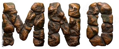 Fotografie, Obraz Set of rocky letters M, N, O