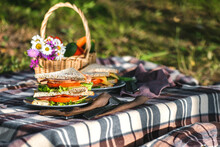 Picnic With Sandwiches In Park...