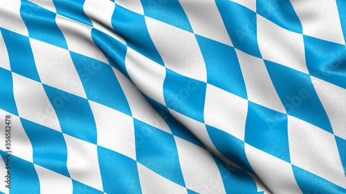 Fotografie, Obraz Flag of Bavaria waving in the wind. 3D illustration.
