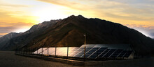Solar Panels Farm On Beautiful...