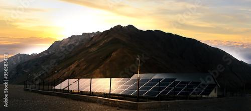 Obraz Solar panels farm on beautiful landscape. - fototapety do salonu