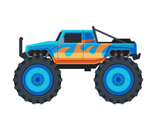 Monster Truck Vehicle, Heavy Blue Pickup Car With Large Tires Vector Illustration