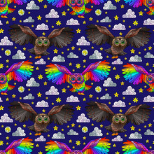 Seamless Pattern With Owls, Stars And Clouds On A Dark Blue Background