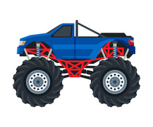 Monster Truck Vehicle, Pickup Car With Large Tires, Heavy Professional Transport Vector Illustration