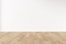 Blank Wall Mockup With Wooden Floor. 3d Illustration.