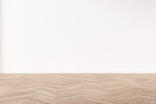 Empty White Wall With Herringbone Wooden Floor. Mock Up 3d Illustration.