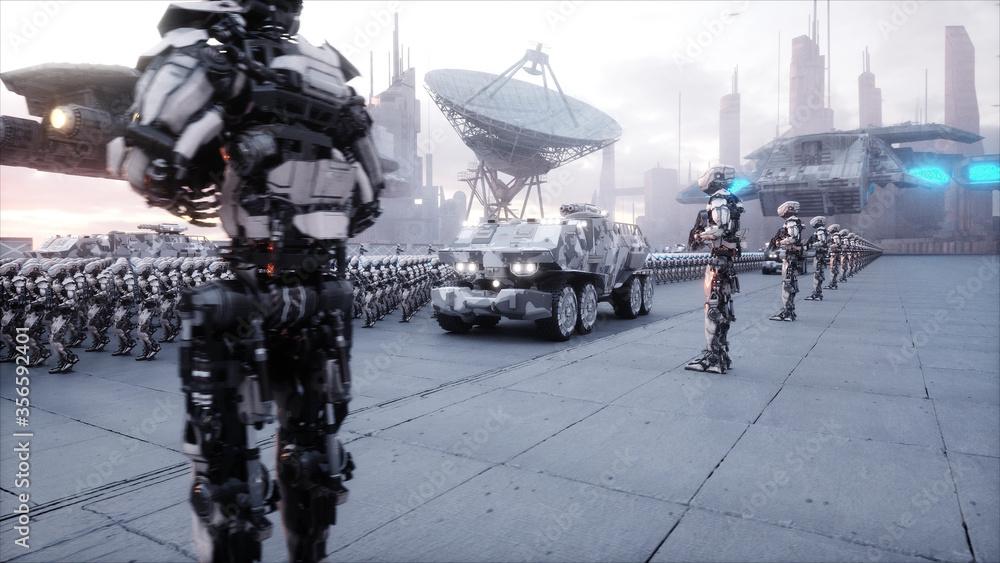 Fototapeta invasion of military robots. Dramatic apocalypse super realistic concept. Future. 3d rendering.