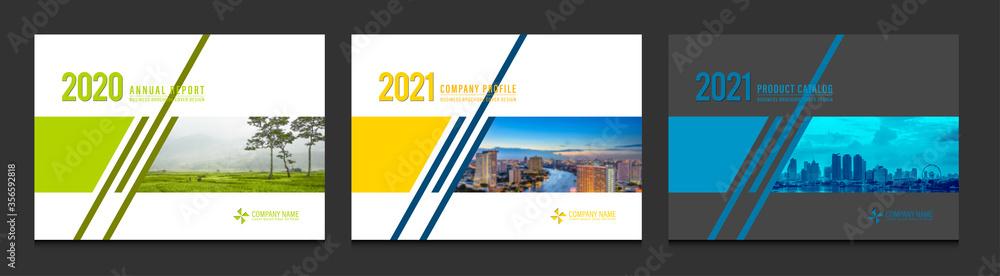 Fototapeta Cover design for annual report business catalog company profile brochure magazine flyer booklet poster banner. A4 landscape template design element cover vector.