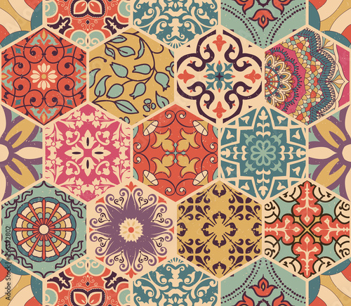 Fototapeta Seamless colorful patchwork tile with Islam, Arabic, Indian, Ottoman motifs