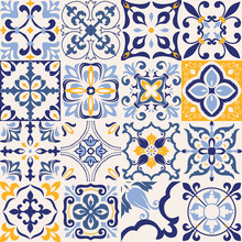 Set Of 16 Tiles Azulejos In Bl...