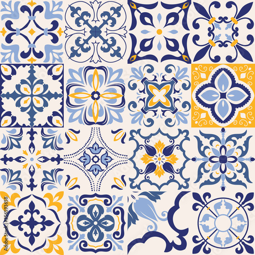 set-of-16-tiles-azulejos-in-blue-gray-yellow-original-traditional-portuguese-and-spain-decor