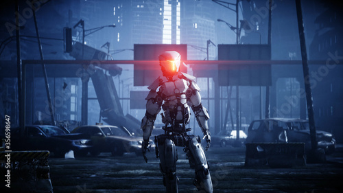 Military robot in destroyed city Canvas Print