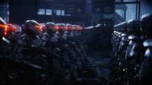 Walking Military Robots. Invasion Of Military Robots. Dramatic Apocalypse Super Realistic Concept. Future. 3d Rendering.