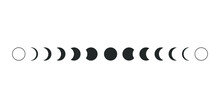 Moon Phases Astronomy Icon Sil...