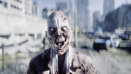 Foto Terrible zombie in destroyed city