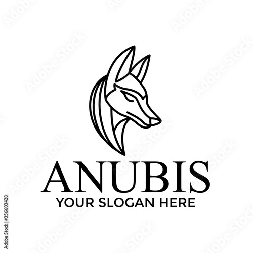 anubis logo icon outline monoline Canvas Print