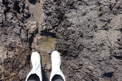 Boots in the mud Tapéta, Fotótapéta