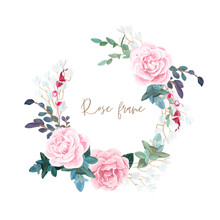 Decorative Round Frame Of Pale Roses, White Spring Flowers, Eucalyptus And Succulents. Light Floral Bouquet For Wedding Invitations And Romantic Cards. Hand Drawn Vector Illustration.